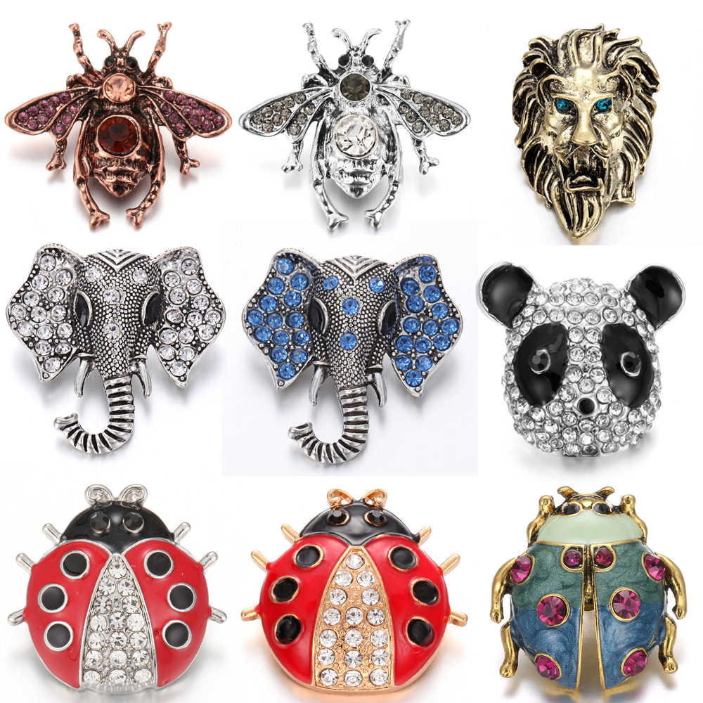 6pcs/lot Hot Sale New Style Snap Button Jewelry Big Rhinestone Bee Elephant 18mm Snaps Jewelry Fit 18mm Snap Necklace Jewelry