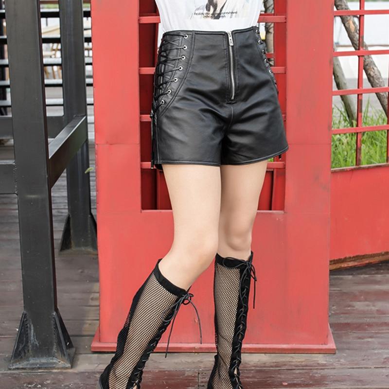 Высокая уличная шнуровка из натуральной кожи шорты для женщин в стиле панк на молнии, с завышенной талией из натуральной кожи Широкие корот... - 2