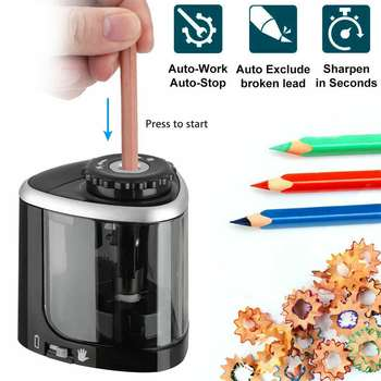 Electric Auto Pencil Sharpener Safe Student Helical Steel Blade Sharpener For Artists Kids Adults Colored Pencils