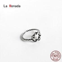 La Monada – bague en argent 925 véritable pour filles, bague minimaliste rétro, ajustable, étoile, 53-57mm, pour femmes