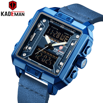 Top Brand Luxury KADEMAN Men Watch Outdoor Sport Military Mens Watches Dual Movement LED Digital Male Leather Wristwatch Clock mens watches to luxury brand men leather sports watches kademan men s quartz led digital clock waterproof military wrist watch