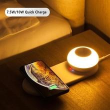 10W Mobiele Telefoon Snelle Draadloze Opladen Board Led Tafellamp Dimmen Onafhankelijke Magnetische Touch Nachtlampje Voor Iphone Samsung