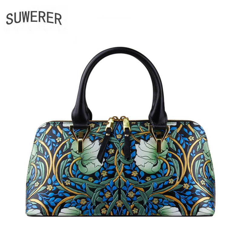 SUWERER 2019 new women genuine leather bag real cowhide carved handbags fashion
