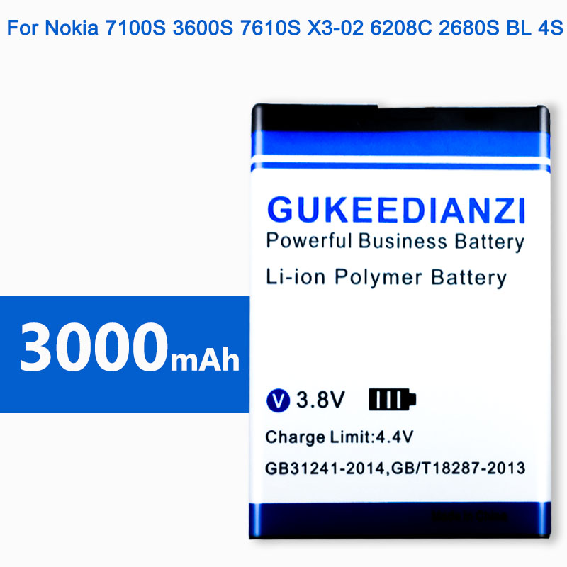 BL-4S 100% New 3000mAh Mobile Phone Battery For Nokia 7100S <font><b>3600S</b></font> 7610S X3-02 6208C 2680S Replacement Li-ion Batteries image