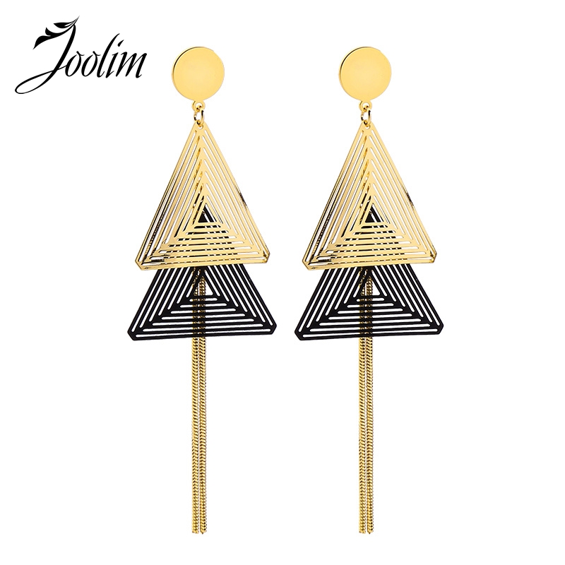 JOOLIM Stylish Triangle Alloy Earring Tassel Dangle Fashion Jewelry Wholesale