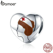 bamoer Authentic 925 Sterling Silver Heart Charm Honor for Medical Personnel Hero Charm for Original 3mm Bracelet SCC1547