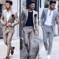 2020 Latest Design Mens Dinner Prom Party Suit Groom Tuxedos Cheap Two Pieces Groomsmen Wedding Suits Custom Made (Jacket+Pants)