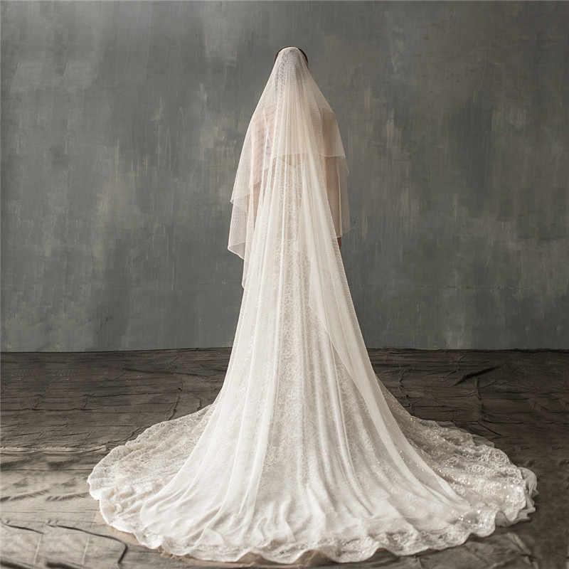 CC Hochzeit Schleier Haar Zubehör Für Braut Weiß lvory 230m Lange mit Kamm Spitze Hohe Qualität Luxus Kathedrale Hairwear v640