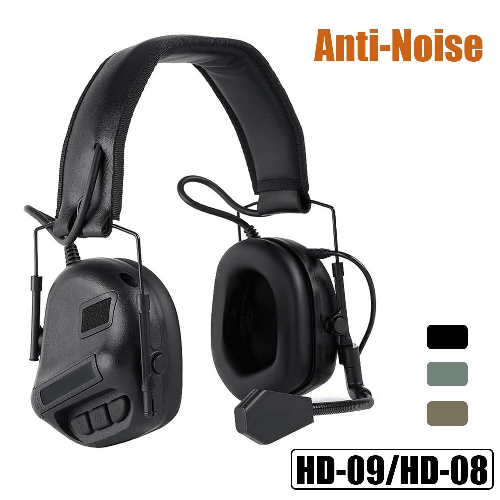 Tactische Headsets Militaire Schieten Oorbeschermer Anti-Noise Hoofdtelefoon Waterdicht Gebruik Met Walkie Talkie Geluidsversterking Headset