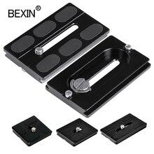 Bexin câmera placa de liberação rápida pu40 50 60 70 com 1/4 parafuso montagem para benro arca suíço monopé tripé bola cabeça dslr câmera