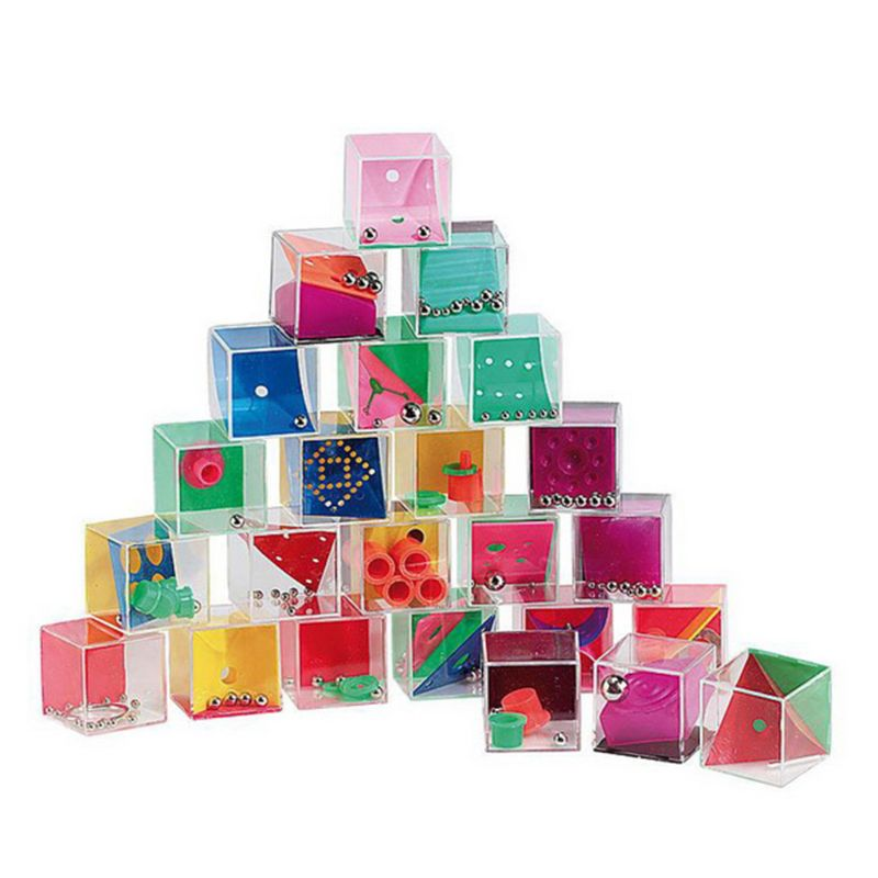 24 Pcs Gravity Balance Bead Set Intelligence Decompression Puzzle Toy Mini Labyrinth Cube Game Boredom Relieve Gadgets
