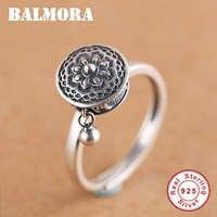 BALMORA 100% Echt Sterling Silber Rotierenden Ringe für Frauen Buddhistischen Tibetischen Gebet Rad Ring OM Mantra Finger Ring Dame Bands