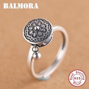 BALMORA 100% Real Sterling Silver Rotating Rings for Women Buddhist Tibetan Prayer Wheel Ring OM Mantra Finger Ring Lady Bands(China)