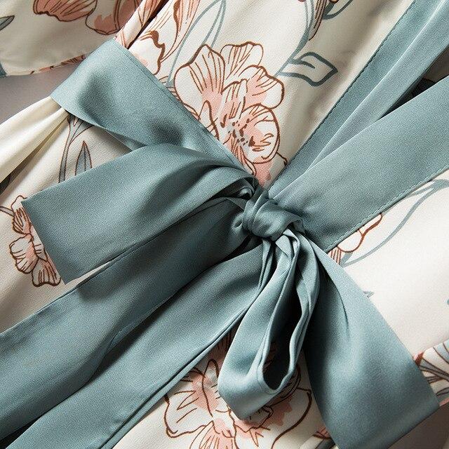4 Piece Satin Touch Pajama Set 5