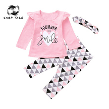 Baby Girl Clothes Set 3Pcs Brand New Autumn Cotton T-shirt+ Pants+Headband 3pcs Infant Newborn Clothing 3-24M