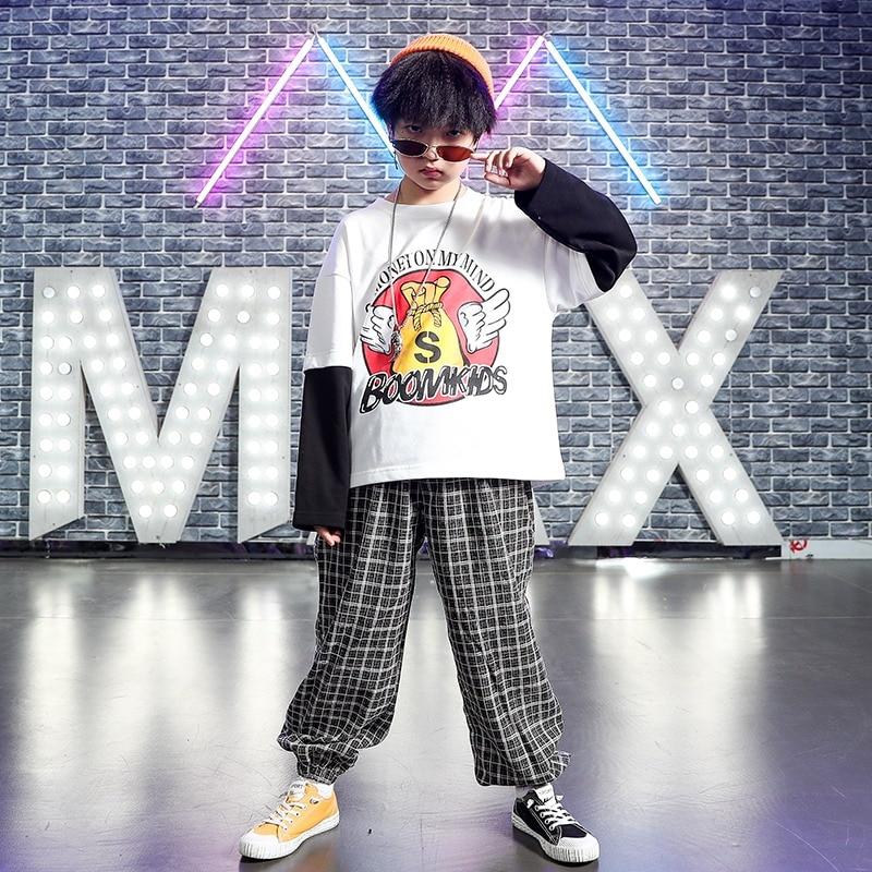 Autumn Children'S Hip Hop Street Dance Suit Boys Long Sleeve Sweater Girls Loose Jazz Dance Costumes 110-170cm Height DWY2500