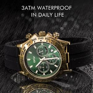 Image 3 - แชมเปญRose Goldนาฬิกาผู้ชายสายยางซิลิโคนChronographควอตซ์นาฬิกาหรูหราRelogio Masculinoของขวัญ