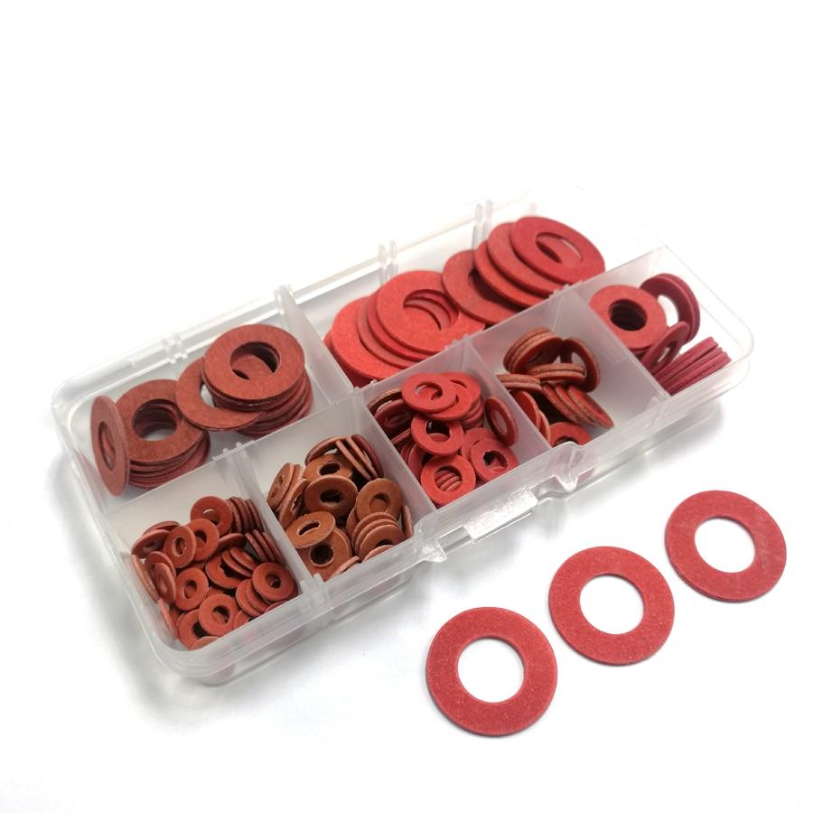 iFCOW 600 Unids Aislamiento Rojo Fibra Vulcanizada Papel de Acero Arandela Junta Arandela Papel Aislante Redondo Kits de Surtido de Papel de Acero Rojo