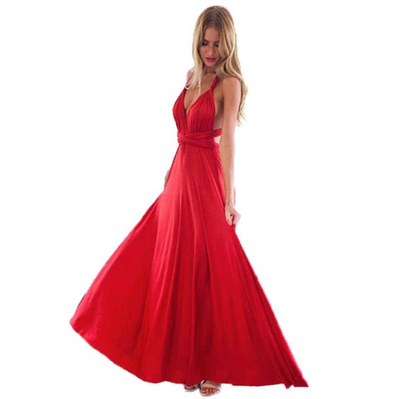 مثير المرأة متعدد الاتجاهات التفاف للتحويل بوهو ماكسي نادي فستان أحمر ضمادة فستان طويل وصيفات الشرف حفلة إنفينيتي رداء طويل فام