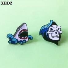 Металлическая Булавка в виде акулы и черепа готический скелет