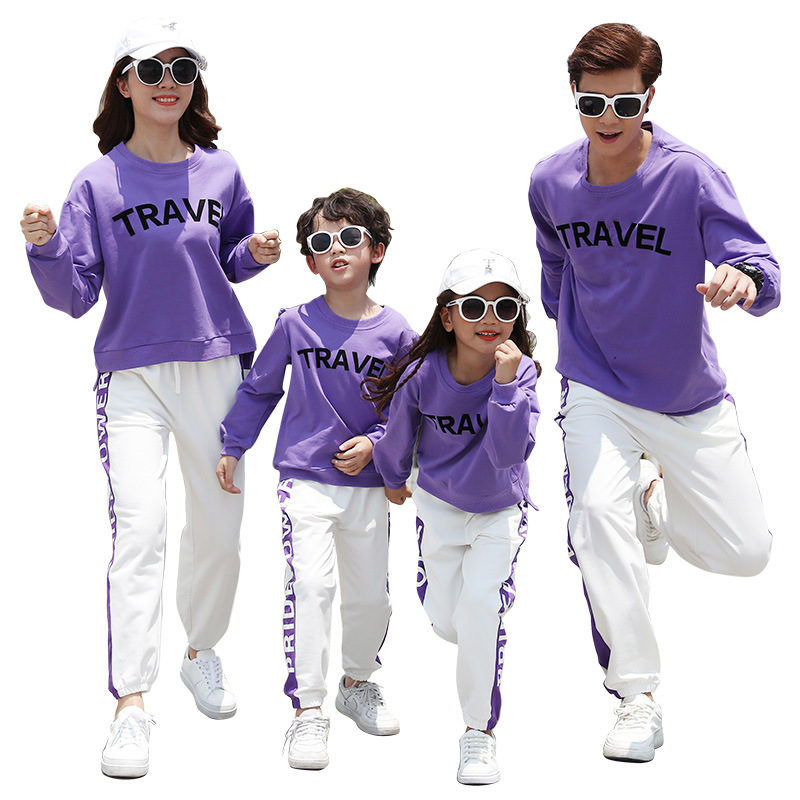 Family Matching Clothes New Autumn Winter Mother Father Kid Sports Causal Suit Family Travelling Matching Set Children Sets