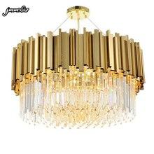 Jmmxiuz חדש יוקרה קריסטל נברשת תאורה מודרני סלון אוכל חדר זהב kroonluchter חינם LED אורות