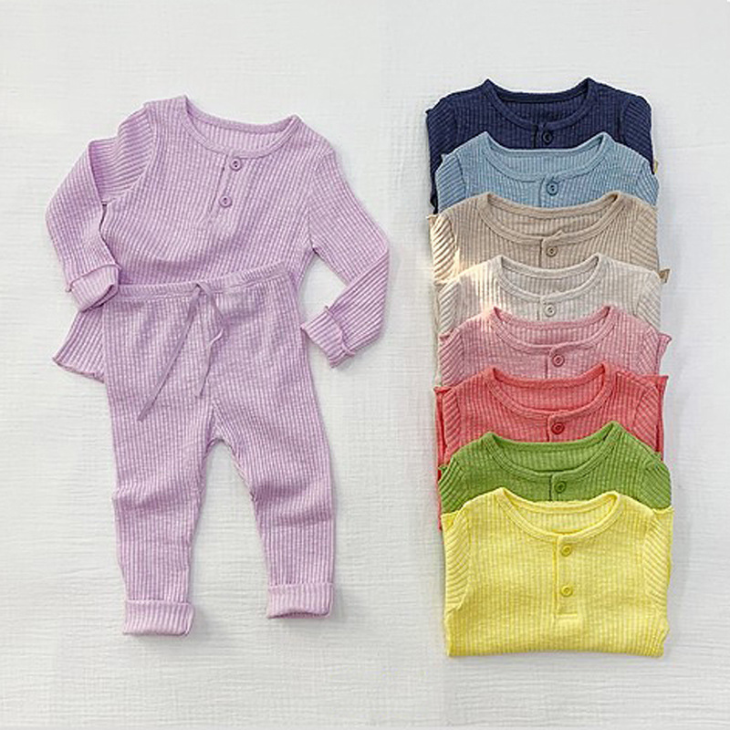 2021 Cute Baby Girl Spring And Autumn New Style Solid Color Pajamas Set Kids Soft Loose 2pcs Of Split Tracksuit