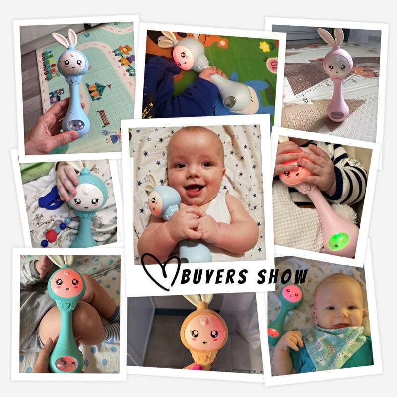 Детский музыкальный Прорезыватель для зубов, погремушки, игрушки, кролик, ручные колокольчики, мобильная соска для младенцев, плача и разрыв, Игрушки для раннего развития новорожденных 0-12 месяцев 5