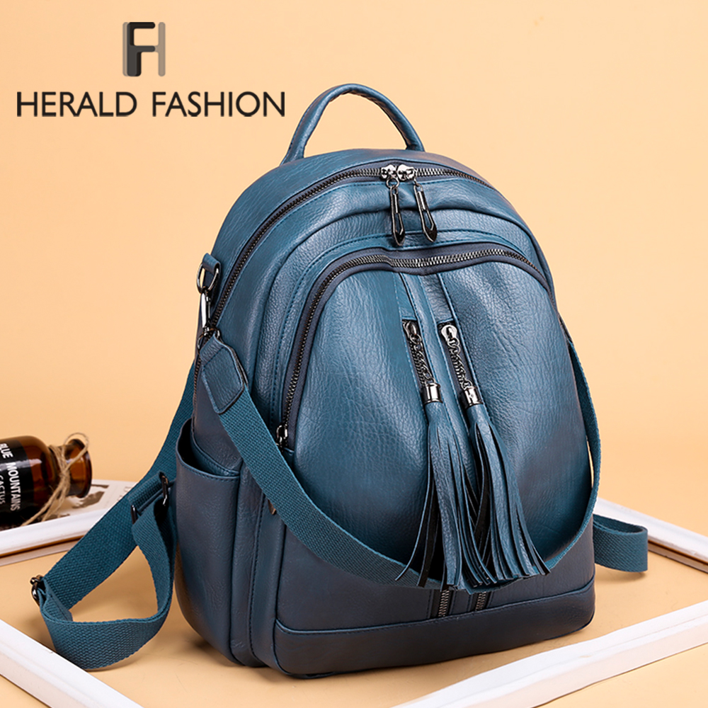 High Quality Leather Women Backpack Fashion School Bags For Teenager Girls Vintage Female Travel Single Shoulder Black Backpacks