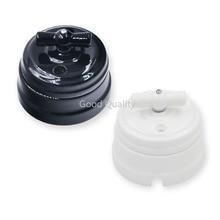 Home Improvement European Ceramic Switch Wall Knob Light Switch 10A Insulating Switch Black White