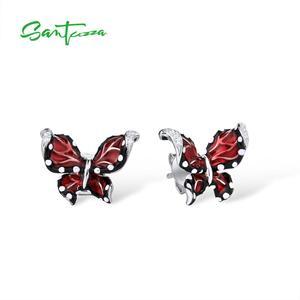 Image 3 - SANTUZZA Red Butterfly Jewelry Set For Woman White CZ Ring Earrings Pendant 925 Sterling Silver Fashion Jewelry HANDMADE Enamel