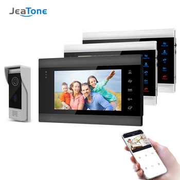 Jeatone 7 Inch Wireless Wifi Smart IP Video Door Phone Intercom System with 3 Night Vision Monitor + 1 Rainproof Doorbell Camera tmezon 7 inch tft wired smart video door phone intercom system with 3 night vision monitor 2x1200tvl rainproof doorbell camera