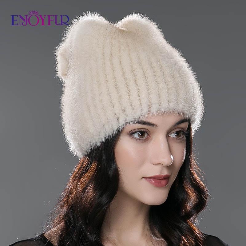 ENJOYFUR Winter fashion fur hats for women natural mink fur beanies caps warm thick winter caps good quality fur hat