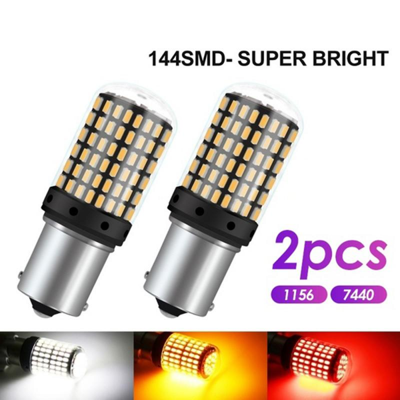 2PCS Super Bright T20 W21W 7440 144SMD 3014 LED CanBus No Error 1156 BA15S P21W LED Lamp for Turn Signal Reverse 12V DC image