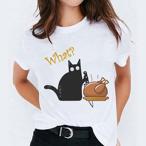 T-shirts for Women Cat Cartoon Clothing Thanksgiving Halloween Print Lady Top Womens Graphic T Shirt Ladies Female Tee T-Shirt