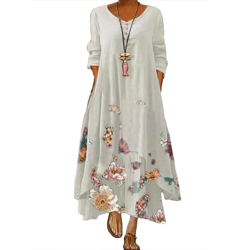 2021 Elegant Flowers Print Long Sleeve Spring Summer Dresses Casual O Neck Loose Women Dress Vintage Party Vestidos Long Dresses 11