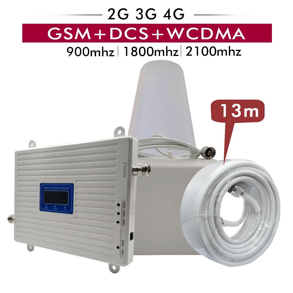 2G 3G 4G Tri Band Impulsionador GSM 900 + DCS/LTE 1800 (B3) + UMTS/WCDMA 2100 (B1) Mobile Repetidor de Sinal 900/1800/2100 Conjunto Amplificador de Sinal