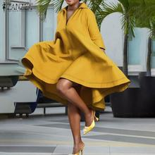 Womens Summer Lapel Dresses ZANZEA Party Casual Robe Female Vintage Pleated Vestido Oversize Elegant Solid Knee Length Dress 5XL