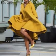 Frauen Sommer Revers Kleider ZANZEA Party Casual Robe Weibliche Weinlese Faltete Vestido Oversize Elegante Feste Knie Länge Kleid 5XL