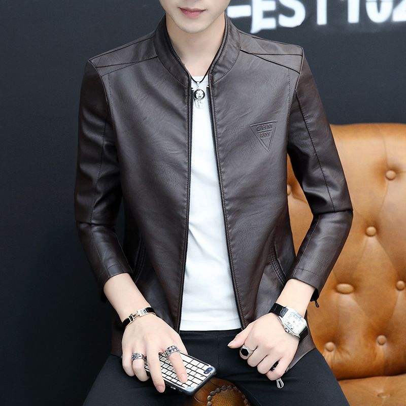 2019 Autumn MEN'S Leather Coat Stand Collar Thin PU Leather Coat Youth Korean-style Slim Fit Jacket Trend Men's