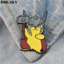 DMLSKY Cartoon Cute Pikachu Pin Clothes Brooch Metal Enamel Women and Men Fashion Brooches Shirt Collar Pins Badge M3801