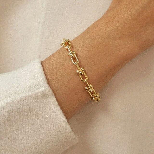 925 Sterling Silver Lock Chain Bracelet for Women Men Vintage Handmade Hasp Adjustable Bracelet Party Jewelry Gift S-B451 1