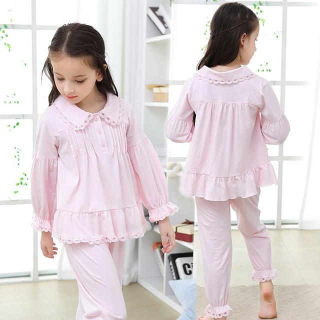 2019 가을 어린이 잠옷 세트 소녀 잠옷 긴 소매 면화 홈 스타일 유아 의류 어린이 잠옷 고품질