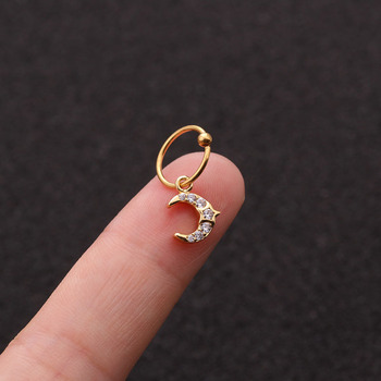 1 PCS Simple Micro Pave CZ Mini Moon Star Charm Ear Cartilage Cuff Clip Earring Trendy Gold Color Steel Ear Piercing Circle Hoop image