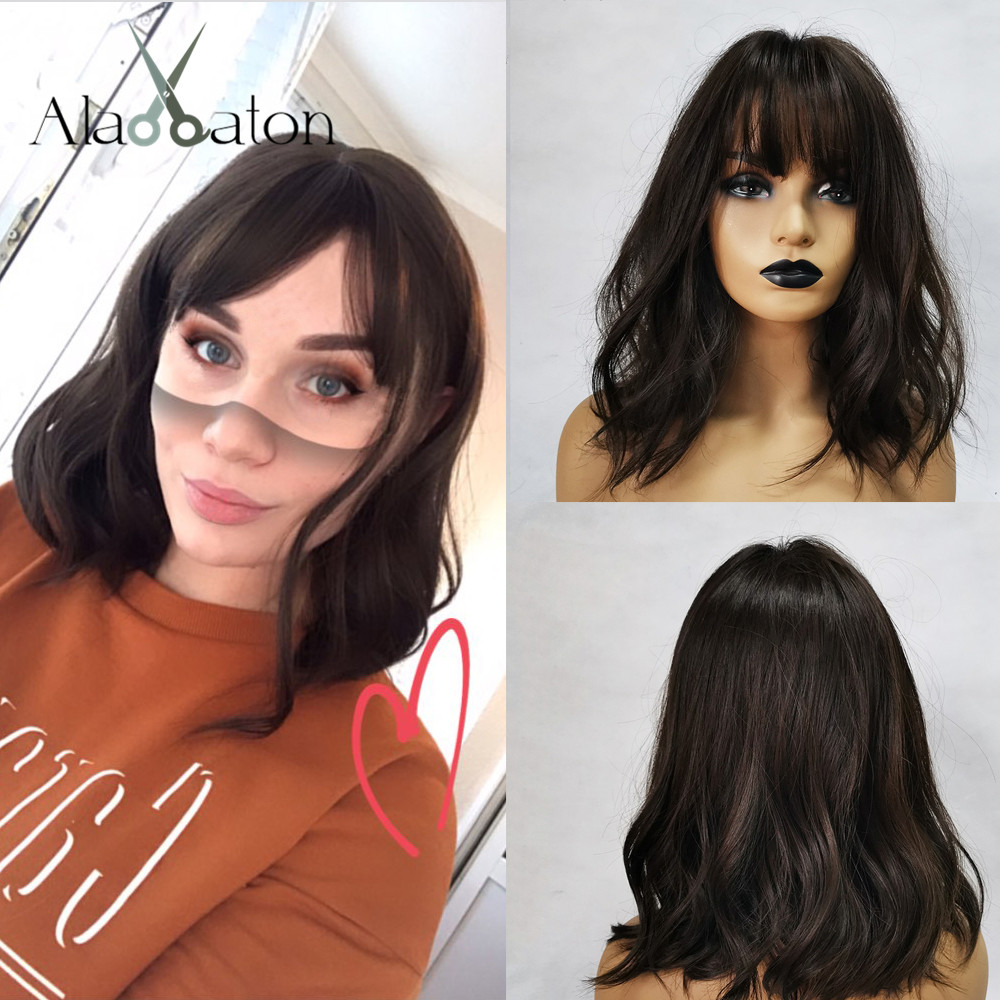 ALAN EATON Medium Wavy Black Brown Women Bobo Wigs With Bangs Synthetic Fiber High Temperature Fiber Female Heat Resistant