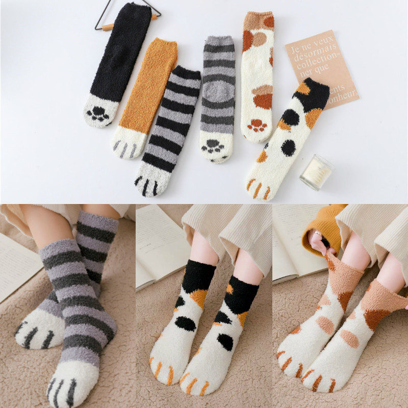 MINHIN 1Pair Winter Warm Cat Paw Socks For Women Girls Fashion Plush Coral Fleece Sleeping Socks Home Floor Thick Socks