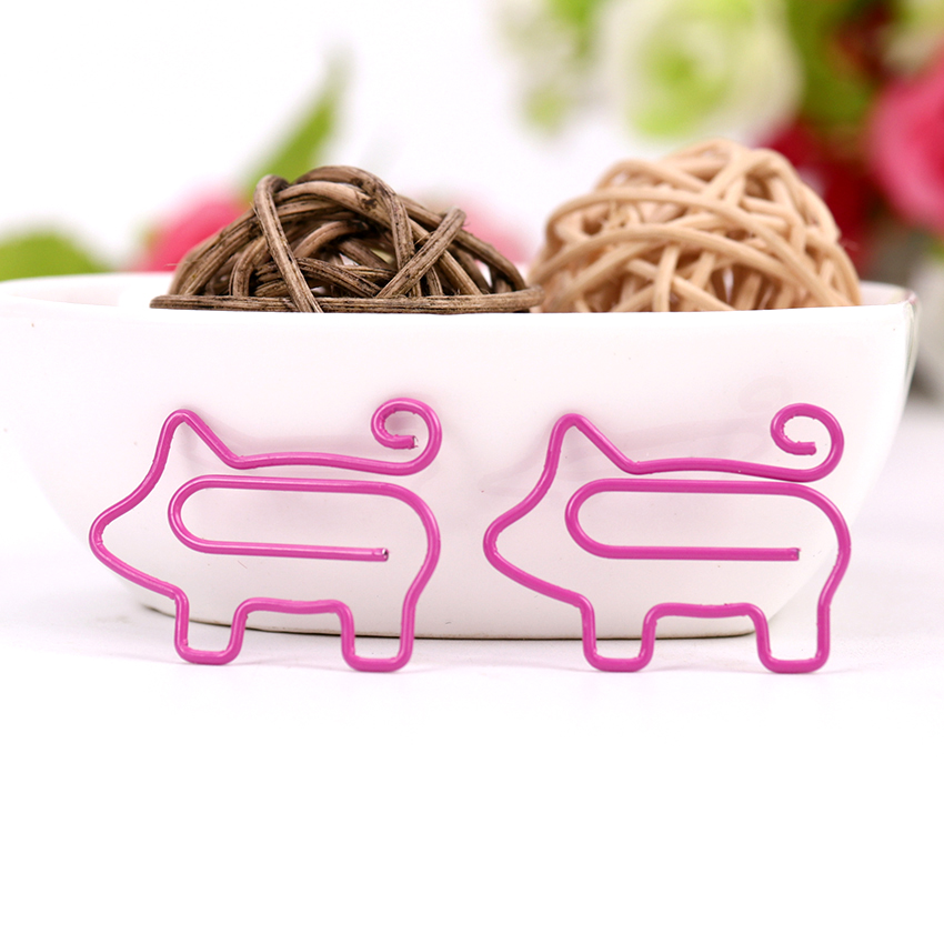 Cute Animal Pink Pig Bookmark Paper Clip School Office Supply Metal Material Escolar Papelaria Gift Stationery 10PCS