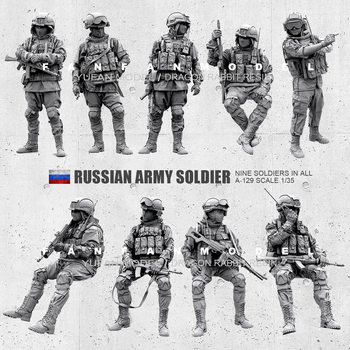 1/35(50mm) Resin Figure Kits Russian Modern Special Forces soldier self-assembled  (9 piece) A-129