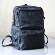 Men Backpack Waterproof PU Leather Travel Bag Camouflage Backpack Business Leisure Men's Backpack Fashion Trend Backpack