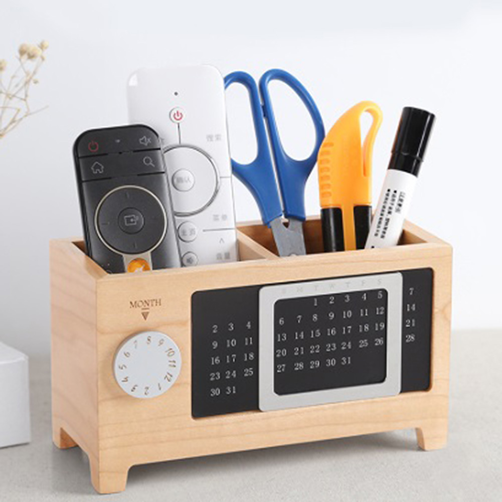Multifunctional Wooden Office Organizer With Calendar Ornaments Desk Organizer Gift Table Practical Container Pen Pencil Holder